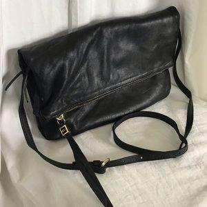 Italian Leather Fold Over Clutch Crossbody Bag
